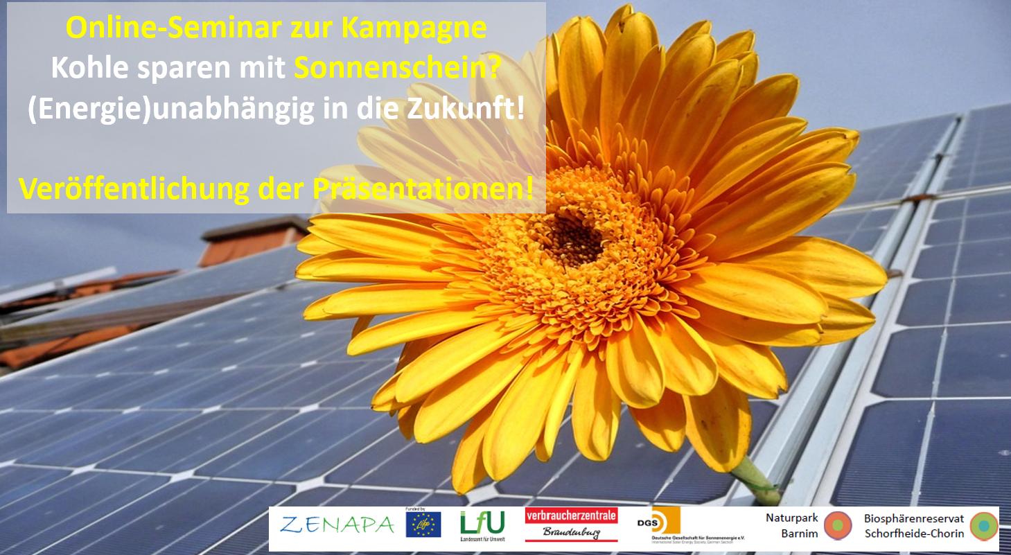 """Präsentationen zum Online-Semiar """"Kohle sparen mit Sonnenschein?"""" abrufbar"""