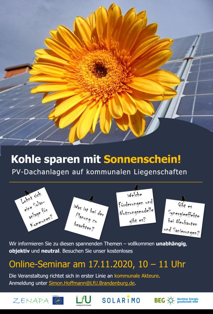 """2. Online-Seminar im Rahmen der Kampagne """"Kohle sparen mit Sonnenschein?"""""""
